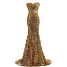 2017 nuova immagine reale sirena elegante oro paillettes abiti da sera sexy sweetheart economici abiti da ballo partito da