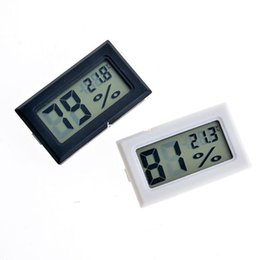 Wholesale Thermometer Hygrometer Wholesale - 2016 new black white FY-11 Mini Digital LCD Environment Thermometer Hygrometer Humidity Temperature Meter In room refrigerator icebox