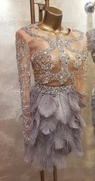 Wholesale Graduation Simple Dress - Evening dress Celebrity dress Grey Ball gown Ostrich Long sleeve Crystals 2017 Yousef aljasmi Kim kardashin Labourjoisie