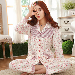 141c754fe9 Wholesale-Women cotton pajamas floral pijama loose pyjama femme long sleeve  winter pajamas female home wear clothes ladies tracksuit Q489