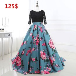 Wholesale Backless Half Sleeve Homecoming Dress - 100% Real Image 2017 Print Evening Dresses Half Sleeve Black Lace Top Backless Sweep Train Designer Occasion Dresses In Stock Cheap