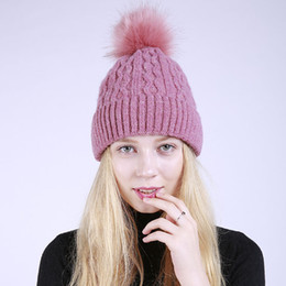 Wholesale Mink Yarn Wholesale - Mink and Fur Ball Cap Pom Poms Winter Hat for Women Girl 's Hat Knitted Beanies Cap Brand New Thick Female Cap