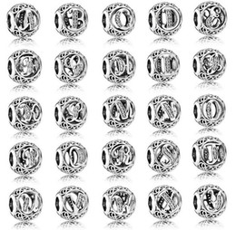 Wholesale European Cross Charm - 100% 925 Sterling Silver European Charms Vintage A-Z Letter Charm Fit For Pandora Style Bracelets DIY Loose Charm