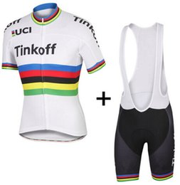 Wholesale Uci Bib Cycling - 2016 TINKOFF PRO TEAM UCI PETER SAGAN Short Sleeve Cycling Jersey Bike Bicycle Wear + BIB Shorts Size XS-4XL