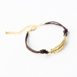 Wholesale Wholesale Metal Clasps For Leather - Metal Feather bracelet 2016 New Leather Wax Rope gold leaf Bracelet for women