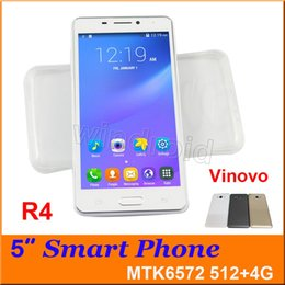 Wholesale Smartphone Unlocked Dual Sim Card - R4 5 inch Android 4.4 Cell phone MTK6572 Dual Core 4GB ROM Mobile Smart Phone 3G WCDMA unlocked Smart Wake Smartphone YBZ VINOVO + case 30pc