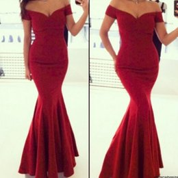 Wholesale Elegant Burgundy Mermaid Evening Dresses Long Off Shoulder Floor Length Evening Gowns Formal Women Special Occasion Events Party Dress Kleid