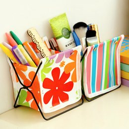 Wholesale Kawaii Desk - Wholesale-Kawaii Canvas DIY Folding Pen Holder Pens stand Pencil Holders for Desk Large 2016New Office Accessories Supplies Stationery