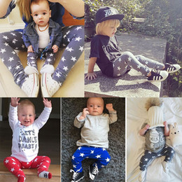 Wholesale Full Months - 2016 Newborn boys girls pants 6 12 18 24 Months PP Baby boy Girl 3 colors stars Trousers fahsion cotton Leggings Full Length kids cotton set