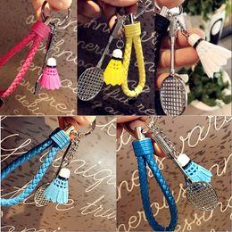 Wholesale Sports Wholesale For Souvenir - 4 Colors Mini 3D Badminton Keychain For Sports Key Chain Candy Color Keyring Pendant Key Ring Souvenir Sports Gifts Free DHL B771L