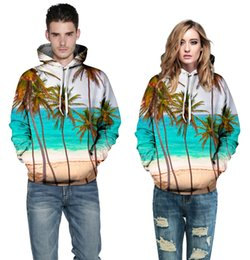 Wholesale New Fashion Autumn Winter Style D fashion Coconut trees waves Printed Couple Hoodies Unisex couples Sweatshirt