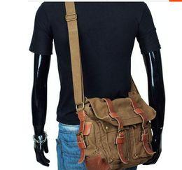 Wholesale Thick Men Crosses - I AM LEGEND canvas shoulder bag akarmy retroman messenger bag with Thick genuine leather man casual bag