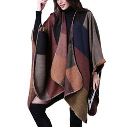 Wholesale Knitted Fur Ponchos - Autumn and Winter Women's Capes and Ponchos Fashion Fur Collar Cashmere Sweater Women Knitted Geometric Spliced Outerwear Coats Clothes