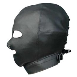 Wholesale High Quality Sex Toys Gag - High Quality PVC Leather Sex Mask Headgear Exposed Eyes Mouth Head Hood Adult Game Sex Toys Halloween Costumes
