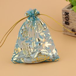 Wholesale Wedding Candy Roses - Sheer Christmas Printing Organza Bags Drawstring Golden Rose Pouches Jewelry Party Wedding Festival Favor Gift Candy Bags 7x9cm 2.7X3.5Inche