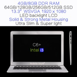 Wholesale Intel I3 Notebook - DHL-Delivery-in-Stock 13.3inch Intel i3 8GB Ram 512GB SSD hard disk laptop LED backliight LCD Windows7 Win8 Notebook metal case slim(C6+i3)