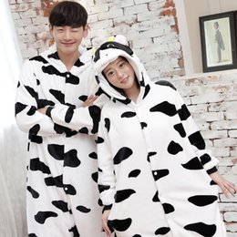 Wholesale Cosplay Cow Costumes - Thicken Flannel White and Black Cow Cartoon Animal Pajamas Hot Sale Winter Long Sleeve Hooded Cute Home Onesies Sleepwear Cosplay Costumes