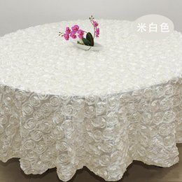 Wholesale Polyester Cloth Suppliers - 2.4m white color Wedding Table Cloth Round Overlays 3D Rose Petal Round Tablecloths Wedding Decoration Supplier 10 Colors Free Shipping