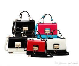 Wholesale Bright Candy - simple fashion bright leather handbag chain lock ladies square shoulder bag