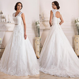 Wholesale Order Backless Dress - Classic Made to Order Wedding Dresses Bridal Gowns A Line Princess Open Back Lace Appliques Bridal Gowns with Corset and Sweep Train