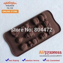 Wholesale Silicone Molds Cake Animal - Free Shipping Brand New Set of 2 Food Grade Silicone Chocolate Mould Cake Cookie Molds Cute Animals