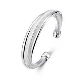 Wholesale Silver Bangle Mesh Cuff - Hypotenuse Mesh Bracelet Fashion Geometric Modeling Silver Bracelet Silver Fill Open Cuff Bangle Women's Jewelry Valentine's Day Gift