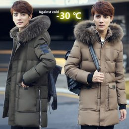 Wholesale Winter Fur Slim Coat Keep - Wholesale- New men's defy cold -30 degree Celsius Plus long Keep warm down jacket white duck down jacket men Fur collar thick winter coat