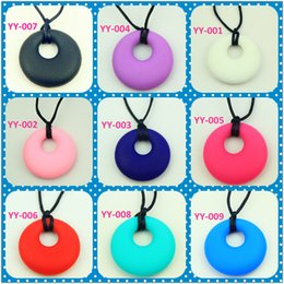 Wholesale Necklace Nurse - Silicone nursing Pendant Teething Necklace Small round baby necklaces 12pcs  lot free shipping