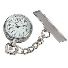 Wholesale Hanging Brooch - Nurse Pendant Brooch Hanging Pocket Luminous Dial Pocket Watch Quartz Chain Cross Fashion Jewelry Gift