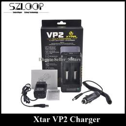 Dos enchufes online-Auténtico Cargador Xtar VP2 Cargador de batería Inteligente de dos bahías Multi funcional con pantalla LCD Reino Unido Enchufe de la UE