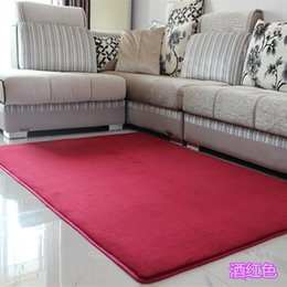 Wholesale Blue Area Rugs - New Fashion Fluffy Rugs Anti-Skid Shaggy Area Multi-size Parlor Home Bedroom Carpet Thick coral velvet Floor Mat Home Textiles 60x120 CM