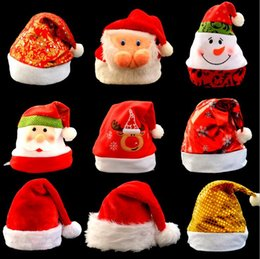 Wholesale Bright Candy - Bright Christmas Hat Adult Child Cute Santa Claus Caps Xmas Festivel Party Decoratives Supplies Candy Colors Christmas Gift Bag