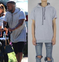 Wholesale Hoodie Zip Mens - side zip hoodie apc kanye west mens short sleeve hoodies tracksuit brand hip hop swag hood by air last kings pyrex hba XXXL