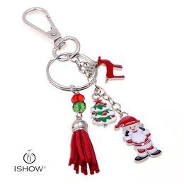Wholesale Imitation Coin Pendants Wholesale - Men Women fashion plating gold silver key ring crystal pendant Santa Claus Festival car key chain bag buckle jewelry gift HYKX1039