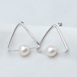 Wholesale Triangle Clip Earrings - Fashion Triangle Shape Pearl Stud Earrings 100% Real Natural Freshwater Pearl Earring,Natural White Pearl Sterling Silver Gift