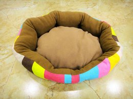 Wholesale Cheap Dogs Beds - Lovely Rainbow Stripe Pet House Warm Canvas Materia Dog Cat House Kennel Cheap Soft Pet Dog Cat Bed Nest For Winter S M Size Min Order 1PCS