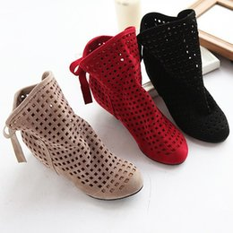 Wholesale Summer Fashions Wedges - Women Fashion Summer Hollow Ankle Boots shoes size 34-43