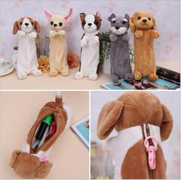 Wholesale Pink Dog Pen - Cute Plush Dog Pencil Case School Kids Pen Pencil Bag School Supplies
