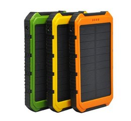 Wholesale Power Bank 1a - 2016 New 20000MAH outdoor polymer Solar Power Bank Solar Charger Ultra-thin Highlight LED Solar Power Banks 2A 1A USB Output