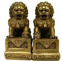 Wholesale Carved Doors - China Chinese Brass Folk Fengshui Foo Fu Dog Guardion Door Lion Statue Pair