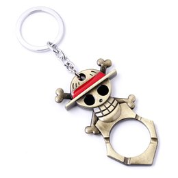 Wholesale Wholesale Bottle Cap Keychains - Animation One Piece Luffy Hand Metal Beer Bottle Cap Opener Keychain Movie Series keyring Pendant Keychain