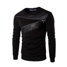 Wholesale Leather Sweatshirt Men - Wholesale-Plus Size M-5Xl Leather Patchwork Hoodies Men Zipper Decoration Sweatshirt Men Casual Sport Coat Fashion Men'S Clothes Hoodie