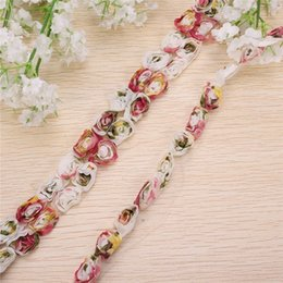 Wholesale Organza Lace Yard - Unique 15 Yard Handicrafts Embroidered Rose Chiffon Organza Lace Ribbon Trim Sewing Decor for Wedding Clothes Party Decoration
