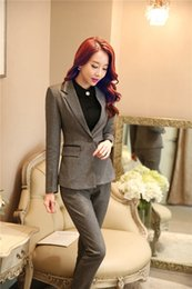 Wholesale Womens Clothing Office - Wholesale-Winter Formal Gray Blazer Womens Business Suits Women Pant and Jacket Sets Ladies Professional Clothes Office Uniform Styles OL