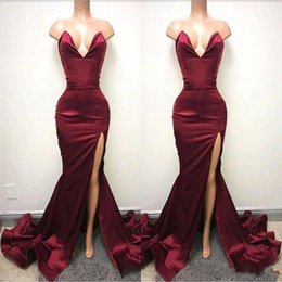 Wholesale Holiday Lights Train - African 2018 Burgundy Mermaid Prom Dresses Sexy Backless Sweetheart High Split Long Evening Gowns Ruched Celebrity Holiday Party Gowns