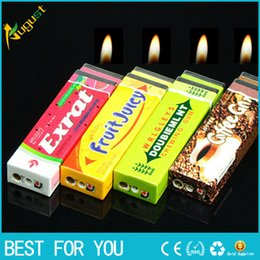 Wholesale Green Lighters - Novelty gas Chutty Lighter Chewing Gum Butane Windproof gas lighter Green Arrow Flame lighter Gadget for smoking