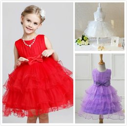 Wholesale Layered Evening Dress Knee Length - New Fashion Girl Sleeveless Pearls Tulle Bowknot Tutu Dress Princess Festival Clothing Party Evening Dress Baby Toddlers Cake Layered Dress