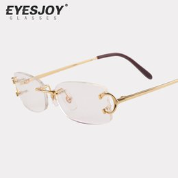 Wholesale Metal Frames Reading Glasses Women - Eyeglasses Metal Glasses Rimless Frame for Men Women Gold Reading Prescription Glasses Eyeglasses Designer with Sunglasses Box