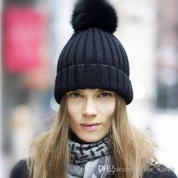 Wholesale Woolen Hats For Women - 2016 New Fashion Woman's Woolen Winter Hats Ball Cap Winter Hat For Women Girl 's Wool Hat knitted Cotton Autumn & Winter Beanies Cap