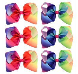 Wholesale Wholesale Girls Hair Bubbles - Girls 8 Inch Large Rainbow Grosgrain Ribbon Bow Clips Hairpins Bubble Flower Bow Barrettes Kids Hair Clip Boutique Hair Accessories